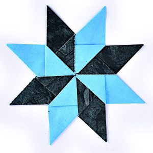 Blue origami star card - Origami cards and sculptures for sale online at Origami Inside - helping prisoners